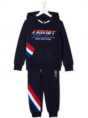 Спортивный костюм с капюшоном и логотипом Cesare Paciotti 4Us Kids. Цвет: синий