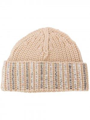 Декорированная шапка бини Ermanno Scervino. Цвет: нейтральные цвета