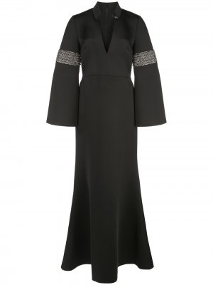 Приталенное вечернее платье с разрешенным подолом Badgley Mischka. Цвет: черный