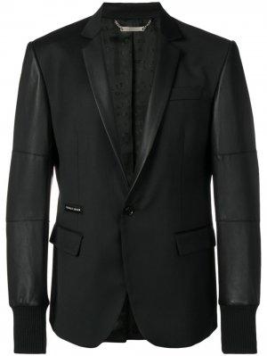 Однобортный блейзер Elegant Philipp Plein. Цвет: черный