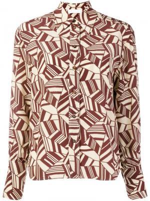 Рубашка с геометрическим узором Chloé. Цвет: коричневый