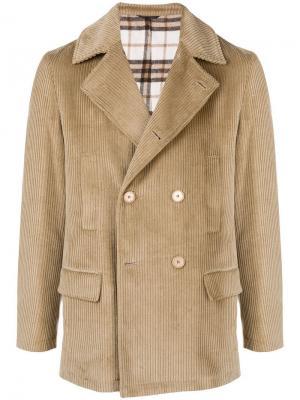Вельветовая двубортная куртка Daniele Alessandrini. Цвет: коричневый