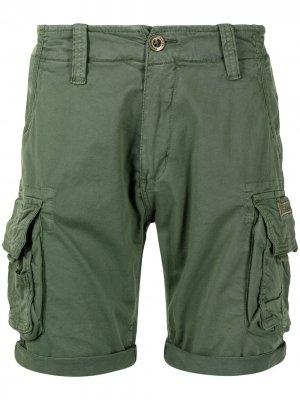 Logo-embroidered cargo shorts Alpha Industries. Цвет: зеленый