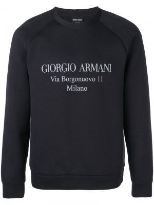 Толстовка с логотипом Giorgio Armani. Цвет: синий