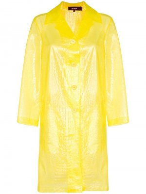 Полупрозрачное пальто с тиснением под кожу крокодила Sies Marjan. Цвет: желтый