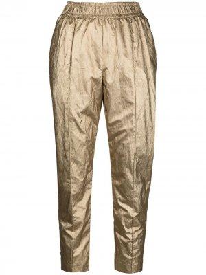 Укороченные брюки скинни с эффектом металлик Nude. Цвет: золотистый
