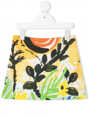 Прямая юбка мини с графичным принтом Marni Kids. Цвет: желтый