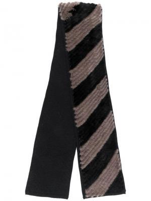 Diagonal stripe scarf Liska. Цвет: черный