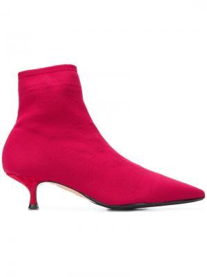 Ботильоны на низком каблуке Anna F.. Цвет: красный