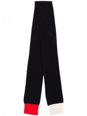 Вязаный шарф с контрастными краями Chinti & Parker. Цвет: синий