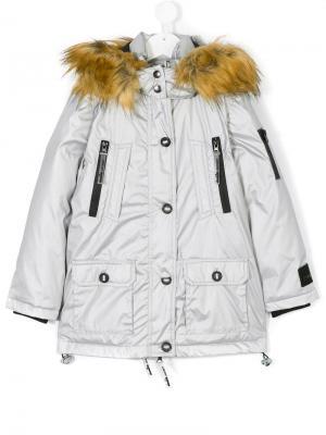 Пальто с капюшоном и искусственным мехом Diadora. Цвет: 122 silver