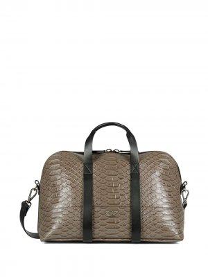 Дорожная сумка с тиснением под кожу змеи Giuseppe Zanotti. Цвет: серый