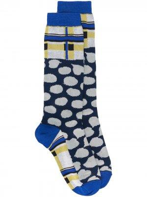 Клетчатые носки Marni. Цвет: синий