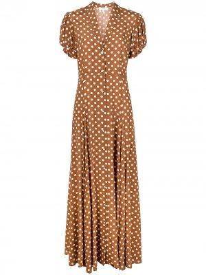 Платье макси Bel в горох Caroline Constas. Цвет: коричневый