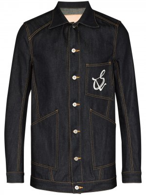 Джинсовая куртка с логотипом sulvam. Цвет: синий