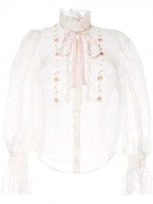 Рубашка с длинными рукавами и вышивкой Ingie Paris. Цвет: желтый