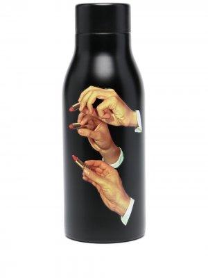 Термобутылка с принтом Seletti. Цвет: черный