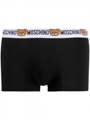 Боксеры с логотипом на поясе Moschino. Цвет: черный