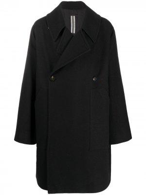 Двубортное пальто свободного кроя Rick Owens. Цвет: черный
