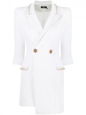 Двубортное платье-блейзер Elisabetta Franchi. Цвет: белый