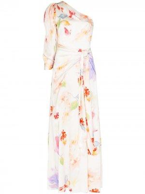 Вечернее платье с цветочным принтом и драпировкой Peter Pilotto. Цвет: белый