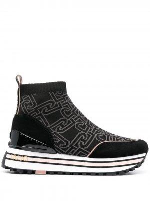Кроссовки-носки с логотипом LIU JO. Цвет: черный