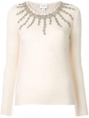 Декорированный свитер Giambattista Valli. Цвет: белый