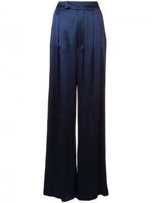 Атласные брюки-палаццо с полосками по бокам Alexis. Цвет: синий