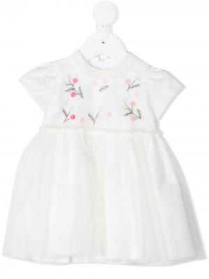 Платье с вышивкой и рукавами кап Il Gufo. Цвет: белый