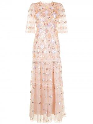 Платье макси с пайетками Needle & Thread. Цвет: розовый