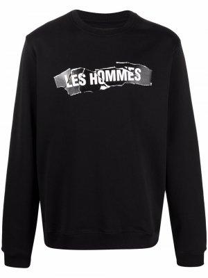 Толстовка с логотипом Les Hommes. Цвет: черный