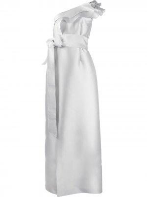 Платье на одно плечо с бантом Alberta Ferretti. Цвет: серый