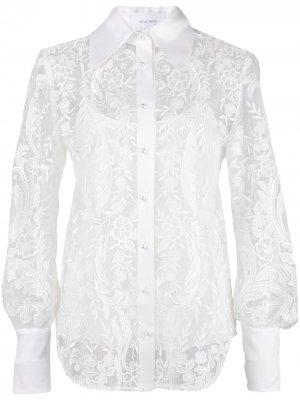 Декорированная кружевная рубашка Marchesa. Цвет: белый
