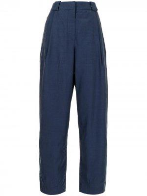 Прямые брюки со складками Giorgio Armani. Цвет: синий