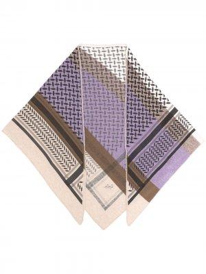 Кашемировый шарф в стиле колор-блок Lala Berlin. Цвет: фиолетовый