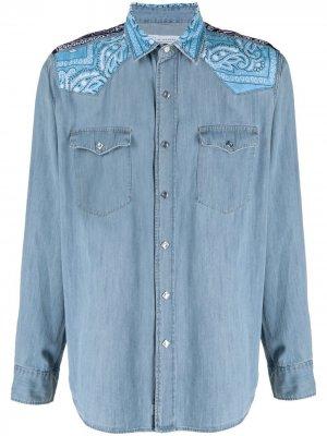 Джинсовая рубашка с контрастной вставкой Re-Worked. Цвет: синий