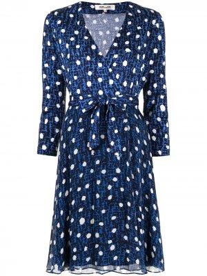 Платье-трапеция в горох DVF Diane von Furstenberg. Цвет: синий