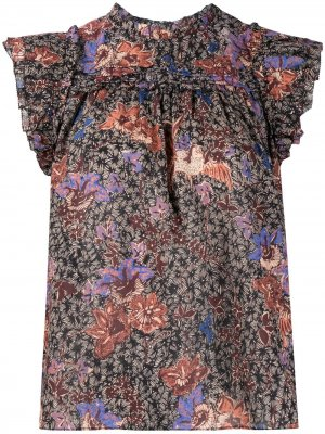 Блузка Louise с цветочным принтом Ulla Johnson. Цвет: черный