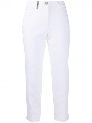 Укороченные брюки скинни Peserico. Цвет: белый