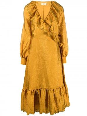 Платье Steffi с оборками и запахом Stine Goya. Цвет: золотистый