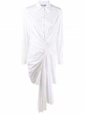 Платье-рубашка с перекрученной деталью Oscar de la Renta. Цвет: белый