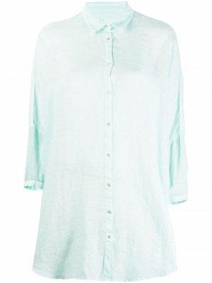 Длинная рубашка 120% Lino. Цвет: зеленый