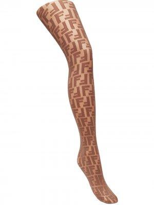 Колготки с вышитыми логотипами Fendi. Цвет: коричневый