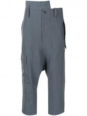 Укороченные брюки с низким шаговым швом Yohji Yamamoto. Цвет: синий