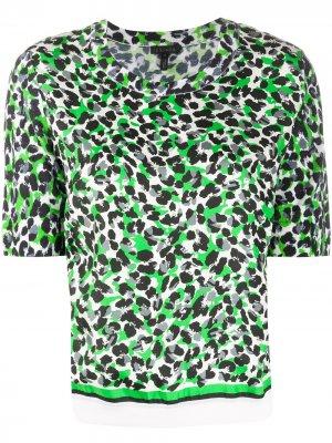 Футболка с леопардовым принтом Escada. Цвет: зеленый