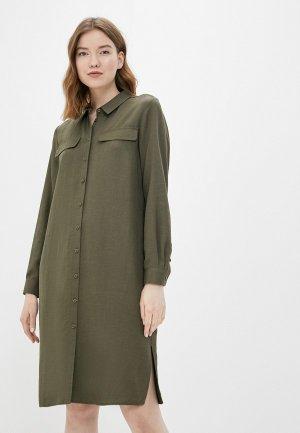 Платье UNQ. Цвет: хаки