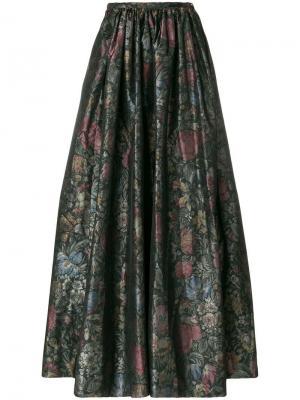 Плиссированная юбка с цветочным принтом Céline Vintage. Цвет: разноцветный
