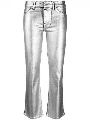 Расклешенные брюки средней посадки с эффектом металлик 7 For All Mankind. Цвет: золотистый