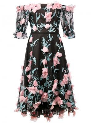 Off-the-shoulder midi dress Marchesa Notte. Цвет: черный