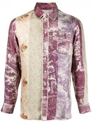 Рубашка в технике пэчворк Pierre-Louis Mascia. Цвет: фиолетовый
